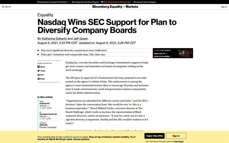 Bloomberg - Nasdaq Wins SEC Support for Plan to Diviersify Company Boards