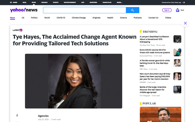 Press - Tye Hayes, The Acclaimed Change Agent Known for Providing Tailored Tech Solutions