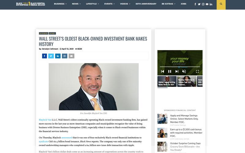 Black Enterprise - Wall Street's Oldest Black-Owned Investment Bank Makes History